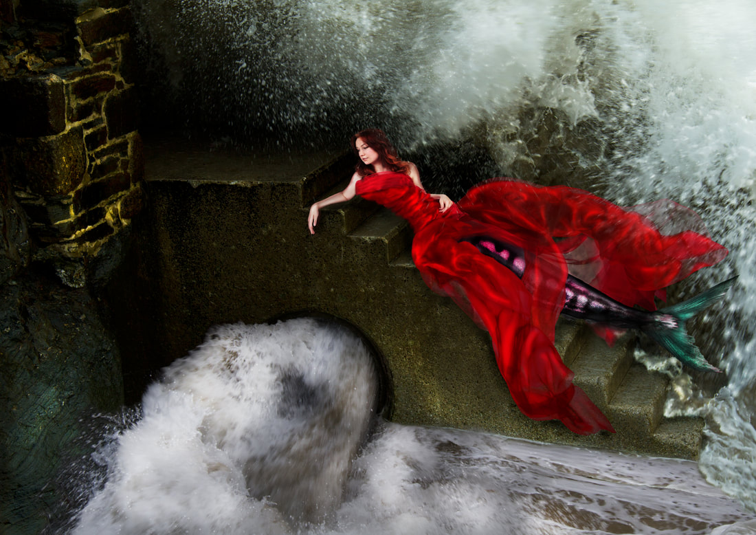 Composite photography by artist Debra Jayne. Jessica Cannons as The Mermaid of Trevaunance Cove. St Agnes, Staircase, Crashing Waves, Red Chiffon Dress, Mythology