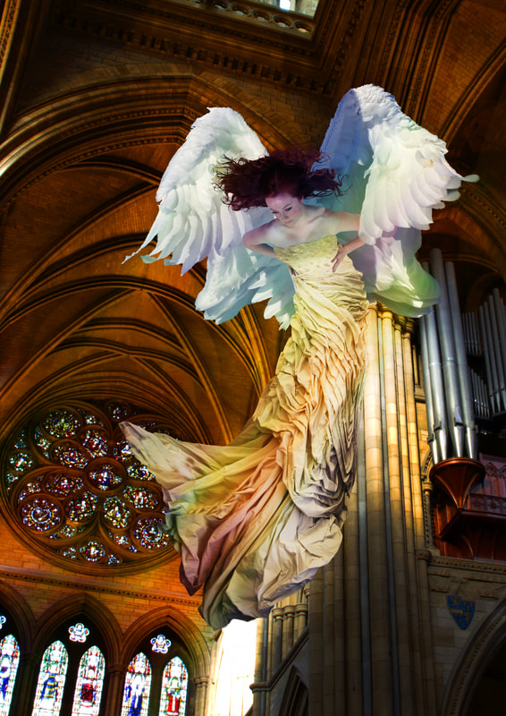 Composite photography by artist Debra Jayne. Jessica Cannons as Saint Mary, Angel, Truro Cathedral, Spirit, Swan Wings, Mythology
